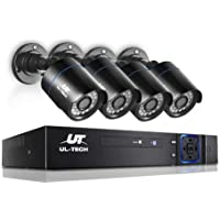 UL-TECH 4pcs Bullet Camera,1080p HD 4C Security IP Camera System with 20m Night Vision,Powerful 5-In-1 DVR,IP66 All-weather Design,Easy Remote View,Motion Detection,Email Alarm,IR-Cut Built-in for Outdoor or Indoor