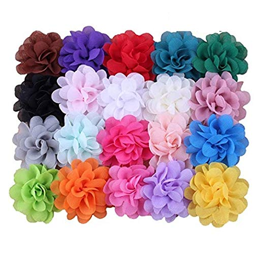 Mydio 24 Pack 2 Inch Baby Girl Chiffon Flowers Lined Hair Bows Clips For Girls Women Teen,Mixed Color