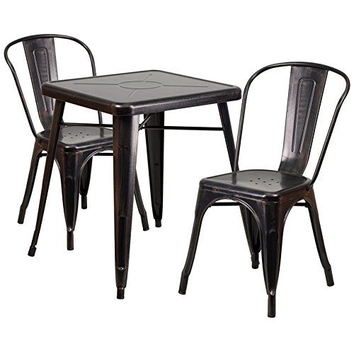 """Flash Furniture 23.75"""" Square Black-Antique Gold Metal Indoor-Outdoor Table Set with 2 Stack Chairs For Sale"""