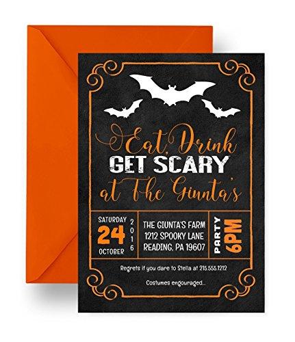 Eat Drink Get Scary Halloween Party Invitations Spooky Chalkboard Black & Orange Custom Printed Set (Annual Halloween Costume Party)