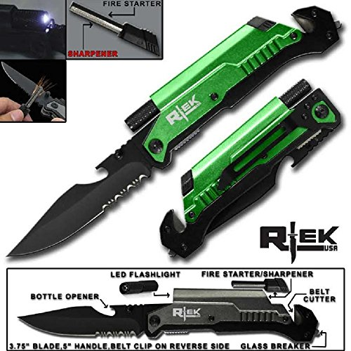 "RT-017576-GN 5"" Tactical Assisted Open Pocket Knife W/LED Li"