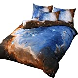 EsyDream Universe Solar System Kids Bedding Sets Twin Size 3 Pieces,100% Polyester Outer Space Stars & Moon Duve Bed Sheet Sets,Twin Size (3PC/Set)