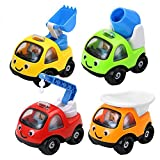AOLEVA Mini 4 Pcs Cartoon Construction Team Vehicle Push and Go Engineering Truck Toy Set For Toddlers Kids Boys Baby