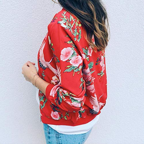 O Zipper Mejor Overdose Rojo Chaqueta Outwear Cuello SeñOras Floral Las Casual Mujeres Retro Venden Up Bomber De xf8PfrqY