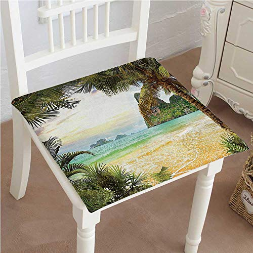 (Mikihome Premium Chair Cushion Palm Coconut Trees and Ocean Waves Across Mountains on Paradise Island Beach Image Comfort Memory PadCushions - Assorted Colors 18