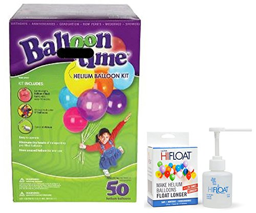Balloon Time Disposable Helium Kit ,Tank 14.9 cu.ft - Plus an Ultra Hi-Float - Party Balloons will Float for Several Days - 50 Balloons and Ribbon Included by Blue Ribbon ()