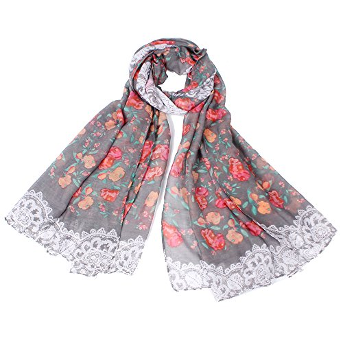 【Colorful Spring Inspired】Women's Lightweight Fashion Scarf, Floral and Modern Print Sheer Shawl Wrap (cat gray) (Mens Floral Scarf)