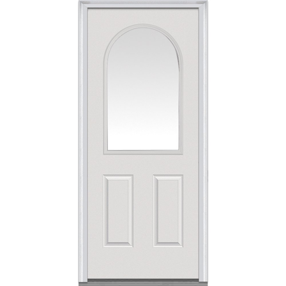 National Door Company Z000734R Steel Primed, Right Hand In-swing, Prehung Front Door, 1/2 Lite Round Top 2-Panel, Clear Glass, 32'' x 80''