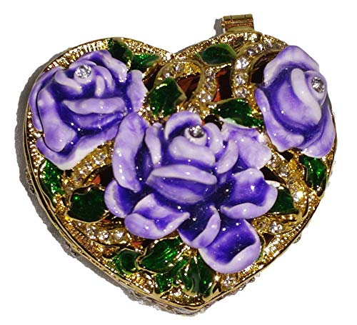 Welforth Jeweled Enamel Purple Roses on Heart Shaped Jewelry Trinket Box