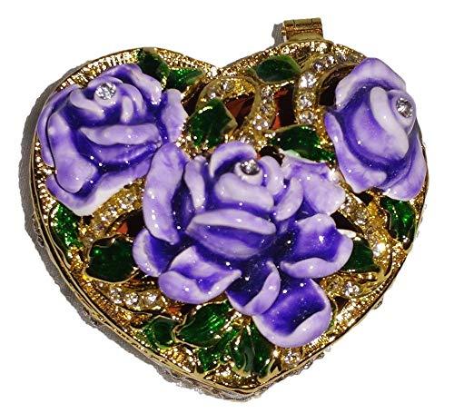 (Welforth Jeweled Enamel Purple Roses on Heart Shaped Jewelry Trinket Box)