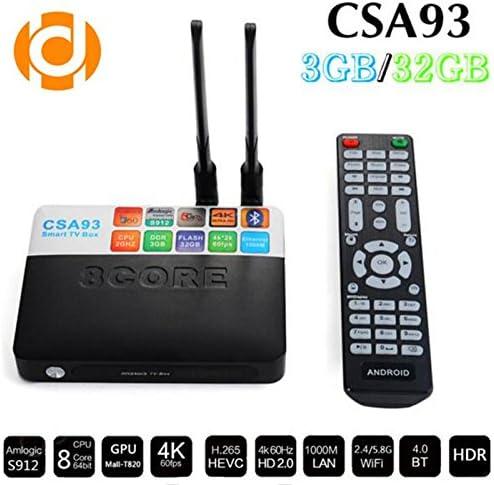 hindotech Amlogic S912 csa93 Octa Core Android 7.1 TV Box 3 GB de RAM 32 GB ROM TV Box 2.4 Ghz & 5.0ghz Dual Wifi Streaming de Smart Media Player: Amazon.es: Electrónica