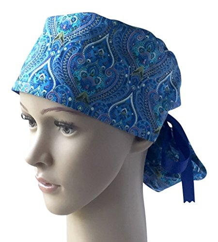 Womens Pony Tail Surgical Scrub Hat, Cap, Many Fabric Choices