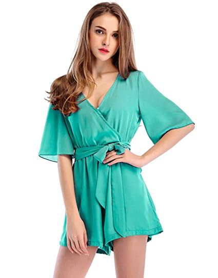 fac93c244a Moxeay Womens Teens Chiffon Short Sleeve Wrap Front V Neck Rompers Jumpsuit  (S