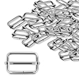 Alcoon 30 Pieces Slide Buckle 1 inch Metal Triglide Slides Rectangle Adjustable Webbing Slider for Fasteners, Strap, Backpack DIY Accessories Silver