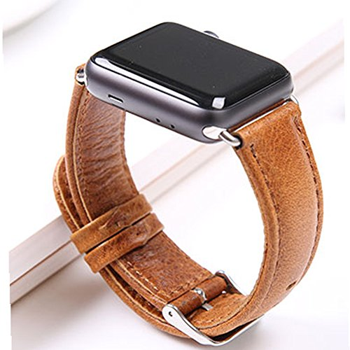 Apple Watch Band 42mm Replacement Wristband with Crazy Horse for iWatch Sport/Edition/Series1/2-Dark - Amazon $0.00