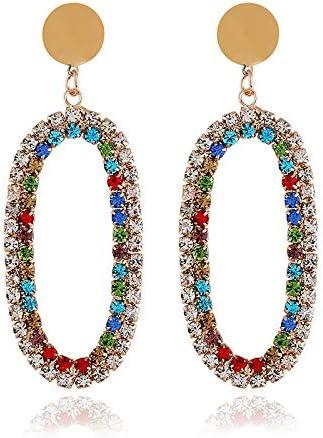 Aymsm Fashion Street Shot Pendientes de Piedras Preciosas de Color Ovalado de Diamantes, Color de joyería de Oreja Larga Hueca Personalizada