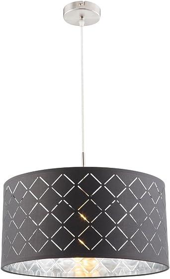 Design Pendel Hänge Stoff Decken Lampe Leuchte grau Wohn Schlaf Zimmer Küche