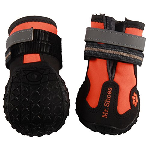 (vecomfy Waterproof Dog Shoes for Medium Dogs,Outdoor Mountaineering Non-Slip Dog Boots Protect Paws (Orange,Size)