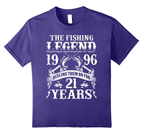 Kids The Fishing Legend 1996 For 21 Years T-shirt Turning 21 Gift 8 Purple