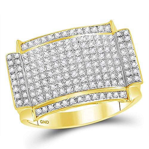 10kt Yellow Gold Mens Round Diamond Rectangle Cluster Ring 1/2 Cttw (Yellow Baby Ring Rectangle Gold)