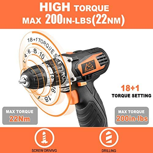 Cordless Drill, Power Drill Driver 12V with 2×1.5Ah Batteries, Fast Charger 1.3A, 44Pcs Accessories, 18 1 Torque Setting, 2-Variable Speed Max Torque 200 In-lbs, 3 8 Keyless Chuck