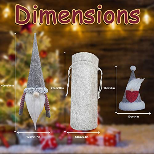 XIRGS Christmas Gnomes Wine Bottle Cover and Cutlery Organizers 6 Pack, Handmade Knife and Fork Cover, Wine Bottle Toppers Santa Claus Wine Bag with Drawstring, Christmas Decoration Holiday (6 pack)