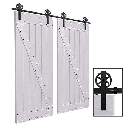 CCJH 11FT-336cm Herraje para Puerta Corredera Kit de Accesorios para Puertas Correderas Rueda Riel