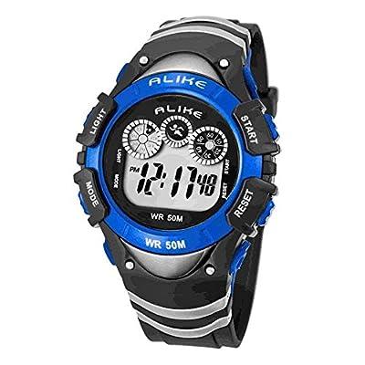 7 Color LED Flash Kid Sport Digital Watch Waterproof Chronograph Alarm Stopwatch Calendar for Boy Blue