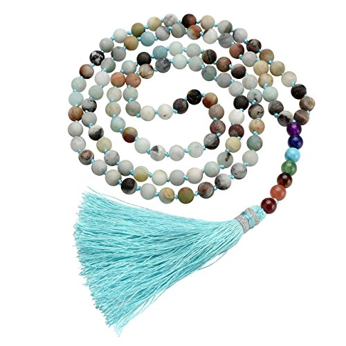 Top Plaza 108 Mala Beads Necklace Beaded Tassel Necklaces 7 Chakra Healing Crystals Gemstone Jewelry for Buddhist Prayer Rosary Meditation(Amazonite)