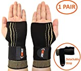 NeoAlly Copper Wrist Compression Sleeve - Gaming Typing Wrist Support with Adjustable Strap for Carpal Tunnel, Tendonitis, Bursitis and Wrist Sprain Small (1 Pair)