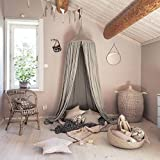 AngelaKerry Cotton Canvas Dome Bed Canopy Kids Play Tent Mosquito Net for Baby Kids Indoor Outdoor Playing Reading Height 240cm/94.5in - Gray