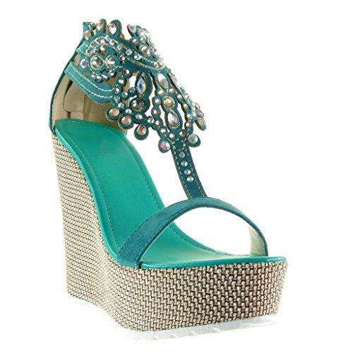 Angkorly - damen Schuhe Sandalen - T-Spange - Plateauschuhe - Schmuck - bestickt Keilabsatz high heel 13 CM - Blau