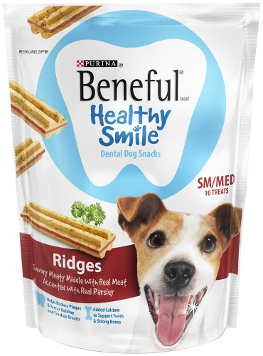 Purina Beneful Healthy Smile Ridges 10 Count Dental Dog Snack, Small/Medium, My Pet Supplies