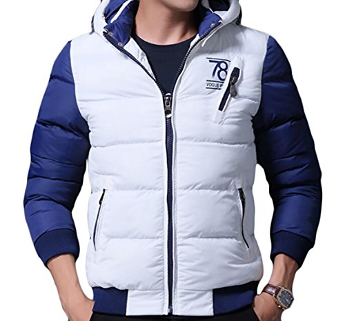 - Spirio Men's Winter Two-Tone Zipper Padded Warm Down Jackets Coats Hooded White US L