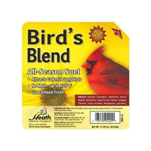 Heath DD4-12 12PK Bird's Blend All Season Suet Wild Bird Food Cake Treat 11.25oz -