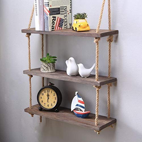 HomeZone® 3 Tier Vintage Shabby Chic Shelving With Rope Shelf Rustic Floating Shelf Multiple Tiered Shelving Wall Hanging Storage Home Storage Organisation (3 Tier Vintage Rope Shelf)