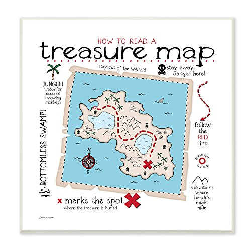 (Stupell Home Décor How to Read Treasure Map Wall Plaque Art, 12 x 0.5 x 12, Proudly Made in USA)