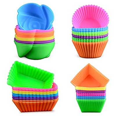 Silicone Baking Cups Cupcake Liners - 48Pcs Reusable Silicone Molds Including Round, Rectanguar, Square, Flower BPA Free Food Grade Silicone