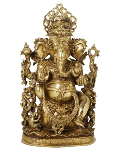 Intricate Brass Ganesh Statue, 14.5 Inches High Review