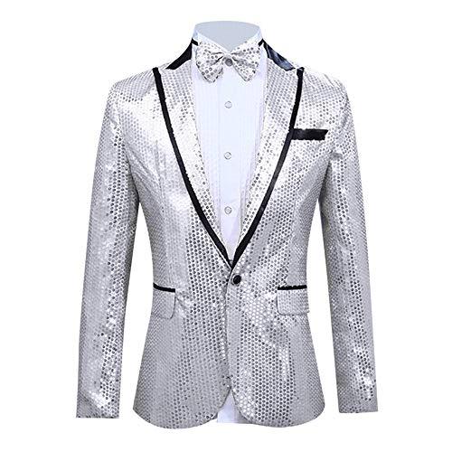 (Men's Slim 2-Piece Paillette Host Show Party Jacket Coat & Bow Tie Suit Blazer Jacket for Weddings Dinner Prom Banquet White)