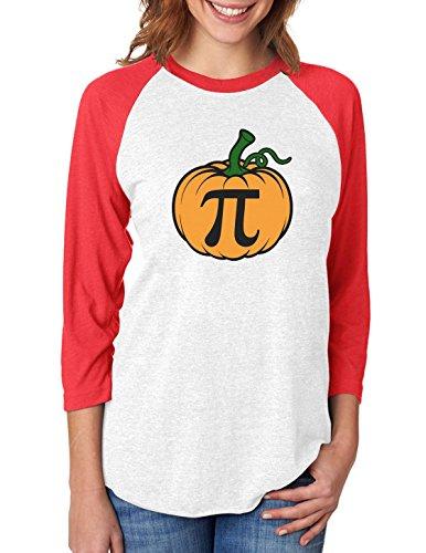 Halloween Pumpkin Pie Funny Pumpkin Pi 3/4 Women Sleeve Baseball Jersey Shirt Small -