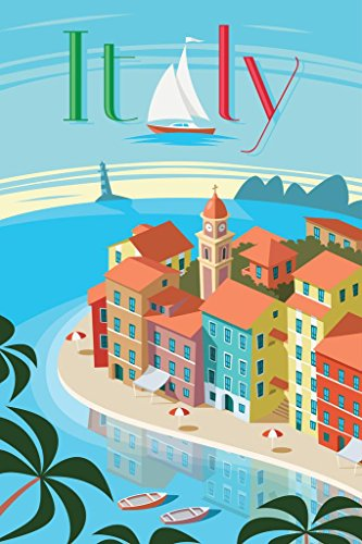 Portofino Italy Retro Travel Art Poster 24x36 inch