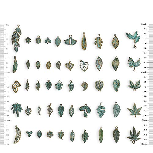 50Pcs Antique Green Different Design leaf Charms For DIY Jewelry - Charms Beads Leaf