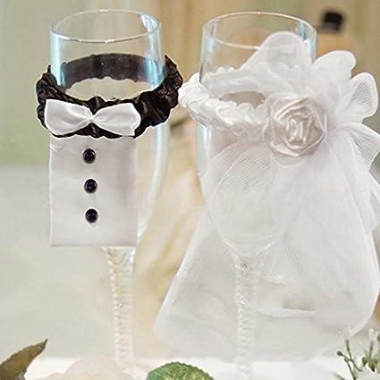 SHZONS boda Copa de vino colgantes decoración de mesa Boda Novia Novio vino cristal cubre