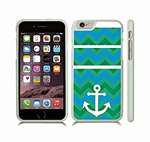 Case Cover For Ipod Touch 4 with Chevron Pattern Green Variety/ Blue Stripes W/ White Anchor Snap-on Cover, Hard Carrying Case (White)