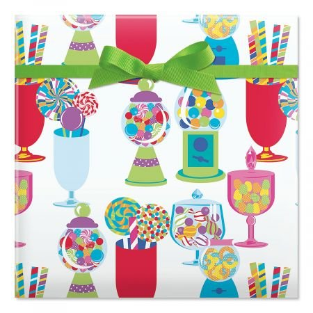 Birthday Sweets Jumbo Rolled Gift Wrap - 67 sq. ft. heavyweight, tear-resistant and peek-proof wrap, Kids Birthday wrapping paper