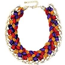 PSNECK Handmade Knitting wool Weaving Collars Chunky Necklace Statement Jewelry Big Chokers Wide Collar Jewelry
