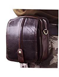 Le'aokuu Men Genuine Leather Waist Fanny Pack Hip Bum Small Messenger Travel Bag Pouch 6402 (38043 coffee)