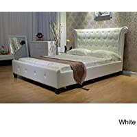 Greatime  Eastern  Upholstered Bed, King Size, White