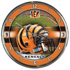 Clock Football Wall 12 Inch - Nfl Football Team Chrome Wall Clock , Cincinnati Bengals , 12-Inch